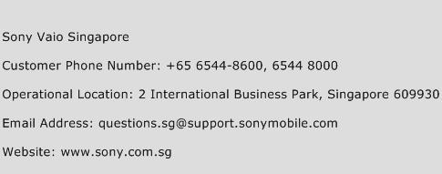 Sony Vaio Singapore Phone Number Customer Service