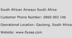 South African Airways South Africa Phone Number Customer Service