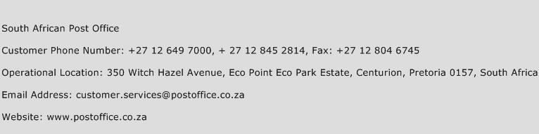 South African Post Office Phone Number Customer Service