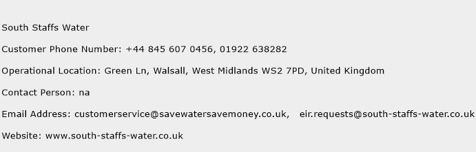 South Staffs Water Phone Number Customer Service