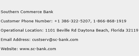 Southern Commerce Bank Phone Number Customer Service