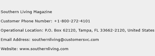 Southern Living Magazine Phone Number Customer Service