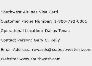 Southwest Airlines Visa Card Phone Number Customer Service