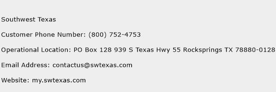 Southwest Texas Phone Number Customer Service