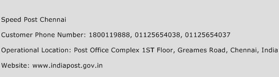 Speed Post Chennai Phone Number Customer Service