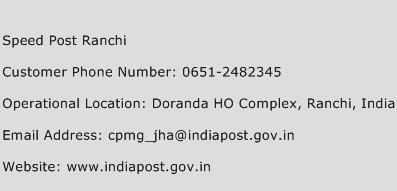 Speed Post Ranchi Phone Number Customer Service