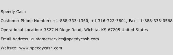 Speedy Cash Phone Number Customer Service