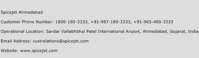 Spicejet Ahmedabad Phone Number Customer Service