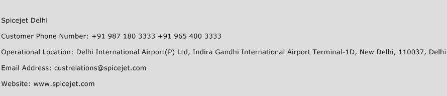 Spicejet Delhi Phone Number Customer Service