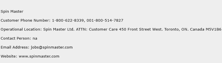 Spin Master Phone Number Customer Service