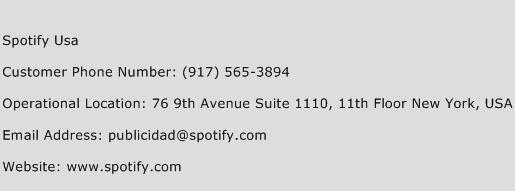 Spotify USA Phone Number Customer Service