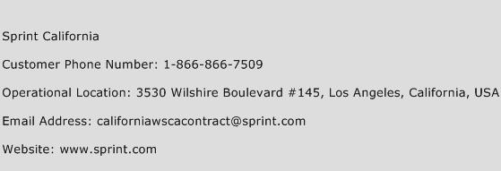 Sprint California Phone Number Customer Service