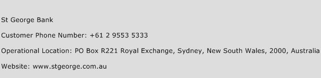 St George Bank Phone Number Customer Service