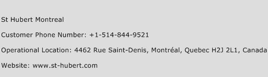 St Hubert Montreal Phone Number Customer Service