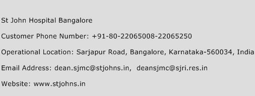 St John Hospital Bangalore Phone Number Customer Service