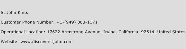 St John Knits Phone Number Customer Service