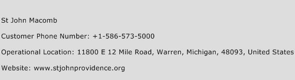 St John Macomb Phone Number Customer Service