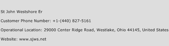 St John Westshore Er Phone Number Customer Service