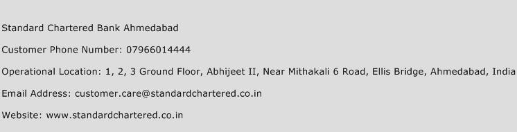Standard Chartered Bank Ahmedabad Phone Number Customer Service