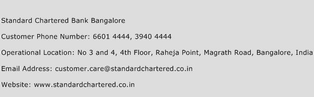 Standard Chartered Bank Bangalore Phone Number Customer Service