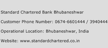 Standard Chartered Bank Bhubaneshwar Phone Number Customer Service