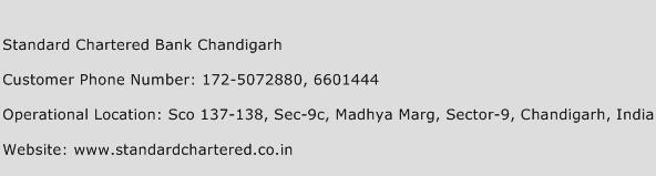 Standard Chartered Bank Chandigarh Phone Number Customer Service