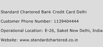 Standard Chartered Bank Credit Card Delhi Phone Number Customer Service