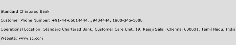Standard Chartered Bank Phone Number Customer Service