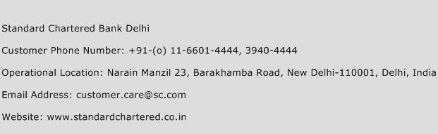 Standard Chartered Bank Delhi Phone Number Customer Service
