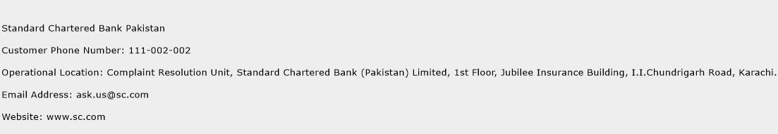 Standard Chartered Bank Pakistan Phone Number Customer Service