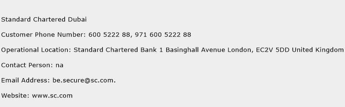 Standard Chartered Dubai Phone Number Customer Service