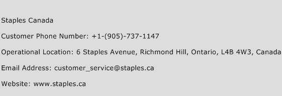 Staples Canada Contact Number  Staples Canada Customer Service Number  Staples Canada Toll