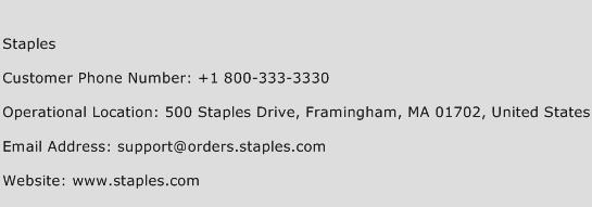 Staples Phone Number Customer Service