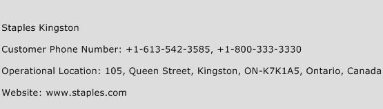 Staples Kingston Phone Number Customer Service
