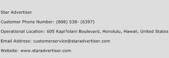 Star Advertiser Phone Number Customer Service