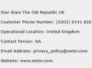 Star Wars The Old Republic UK Phone Number Customer Service