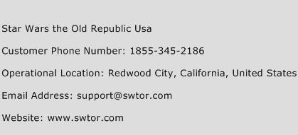 Star Wars The Old Republic USA Phone Number Customer Service