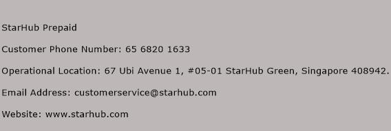 StarHub Prepaid Phone Number Customer Service