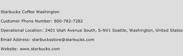 Starbucks Coffee Washington Phone Number Customer Service