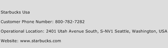 Starbucks USA Phone Number Customer Service