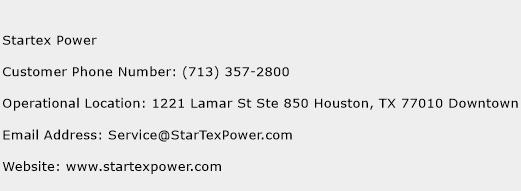 Startex Power Phone Number Customer Service
