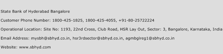State Bank of Hyderabad Bangalore Phone Number Customer Service