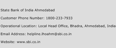 State Bank of India Ahmedabad Phone Number Customer Service