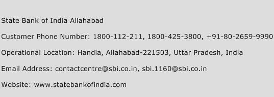 State Bank of India Allahabad Phone Number Customer Service