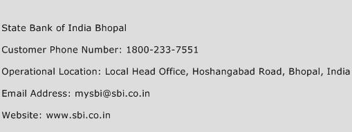 State Bank of India Bhopal Phone Number Customer Service