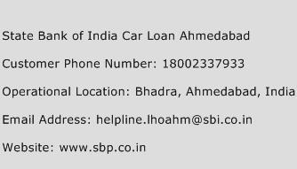 State Bank of India Car Loan Ahmedabad Phone Number Customer Service