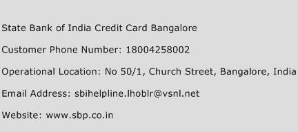 State Bank of India Credit Card Bangalore Phone Number Customer Service
