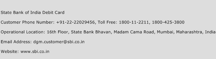 State Bank of India Debit Card Phone Number Customer Service