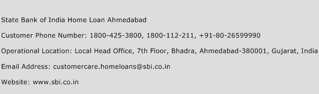 State Bank of India Home Loan Ahmedabad Phone Number Customer Service