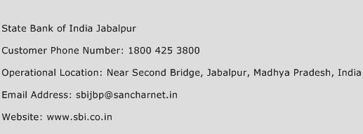State Bank of India Jabalpur Phone Number Customer Service